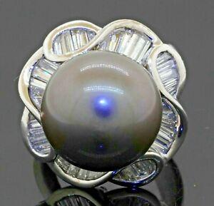 Heavy Platinum 3.20CTW VS diamond/15mm Gray Tahitian pearl cluster cocktail ring
