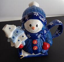 BICO CHINA Snowman Teapot Holiday CHRISTMAS Snowflakes Blue FREE SHIPPING
