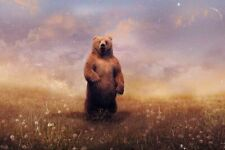 Funny Gifts Home Decor Bear And Starry Sky Painting Picture Printed on canvas