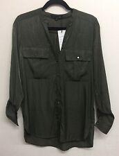 Women Ladies New Smart V Neck Casual 'Silk Like' Pocket Top/Shirt/Blouse UK 8-16