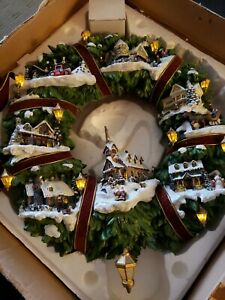 THOMAS KINKADE Christmas Village Wreath by Hamilton Illuminated Includes Adapter