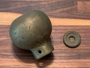 Heavy Antique Solid Brass Bed Finial Ball Flat Top Patina 8 ounces