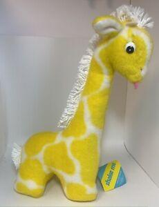 "Eden Giraffe Baby Rattle Toy 15"" Tall Vintage Stuffed Yellow White Plush Jingles"