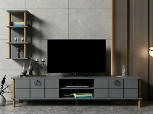 Antracite Grey Wooden TV Stand Unit Media Storage With Single Wall Unit- Lotus A