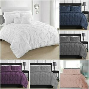 100% EGYPTIAN COTTON PINTUCK DUVET COVER BEDDING SET & PILLOW CASE SET 200TC