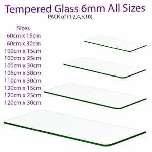 Clear Tempered Glass Shelf Panel Storage Sheet Shelving Display Bathroom Shelves