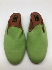 ZALO Green Fabric Slip On Slide Mule Clogs Low Heel Comfort Womens Shoes Sz 8.5