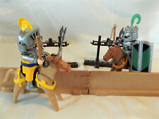 Playmobil Retired Jousting Tournament Knights, Horses, Wall, Weapon Racks, Sword