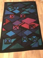 Vintage Biederlack Blanket Geometric Stained Glass Design Blanket Throw USA