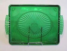 Anchor Hocking Art Deco Shell Pattern Forest Emerald Green Handled Dresser Tray