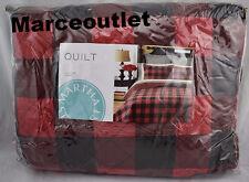 Martha Stewart Collection Montana Plaid FULL / QUEEN Quilt Red / Black