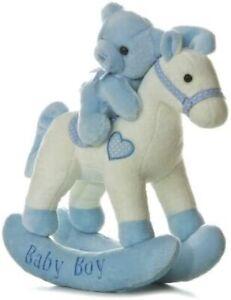 "Aurora Baby Boy Rocking Plush Horse & Blue Teddy Bear 12"" White Pony w/ Heart"