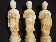 WOW! 3x 18th or 19th Century Chinese White/Russet Nephrite Jade Buddahs CHINA