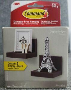COMMAND Display Ledges Black 2 Floating Shelves 8 Strips - Holds 2 lbs NEW