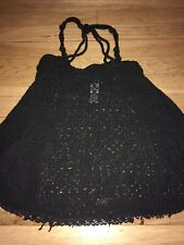 Free People Beach Small Black Crochet Tank Top Bell Shaped Rope Straps