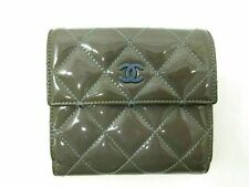 Authentic CHANEL Matelasse Bifold Wallet Patent Leather Blue 85342