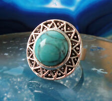 Ring in Vintage Style with Stone Turquoise tibet silver Sun Wheel Inka Maya