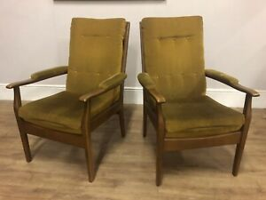 PAIR MID CENTURY CINTIQUE  EASY CHAIRS