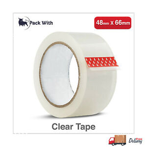 48MM X 66M CLEAR PACKAGING PARCEL PACKING TAPE  CARTON SEALING SELLOTAPE
