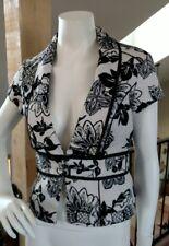 White House Black Market Cotton Blazer Lined Jacket Short Sleeve Floral Sz S 6