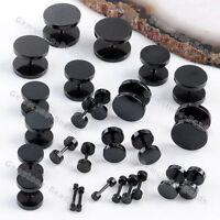 1 Pair 2pcs Barbell Black Stainless Steel Screw Back Men's Earring Ear Studs