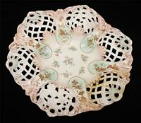 Antique Coalport, Reticulated Pierced Bowl, Imported by Pitkin & Brooks, Chicago