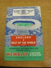23/10/1963 England v Rest Of The World [At Wembley] (scuffed on edge of covers,