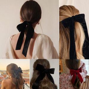 Women Vintage Black Big Large Velvet Bow Hair Clip Long Ribbon Hairpin Barrette#