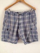 "Men's Cotton Shorts By George 32"" Waist Blue Check <R14922"