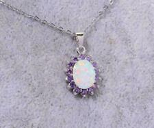 2Ct Oval Cut Fire Opal & Amethyst Halo Pendant with Chain 14K White Gold Finish