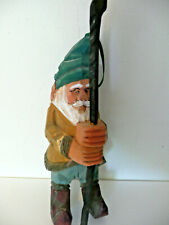 """Vintage Carved Wooden Gnome Elf With Staff Approx 7""""T"""