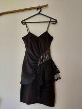 Vintage 80s Party Cocktail Prom Drape Sequin Lace Tulle Asymmetric Black Dress