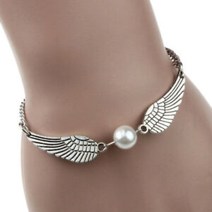 Vintage Angel Wings Feathers Bracelet For Womens Girls Pearl Charms 21cm UK