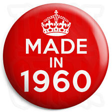 Made in 1960 - Red - Keep Calm Birthday Year of Birth - 25mm Button Pin Badge