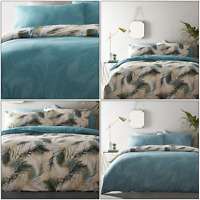 Teal Duvet Covers Gold Peacock Feather Reversible Print Quilt Cover Bedding Sets