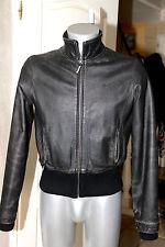 joli  blouson cuir used noir court BENCH taille L femme ou M homme modèle mixte