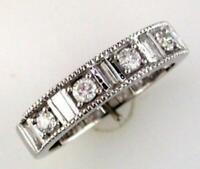 .55CT DIAMOND 14KT WHITE GOLD 3D BAGUETTE MILGRAIN FILIGREE ANNIVERSARY RING