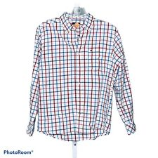 Tommy Hilfiger Boy's Red White Checkered Collared Oxford Shirt Size Medium