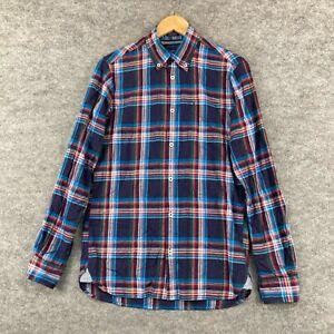 Tommy Hilfiger Mens Button Up Shirt Size XS Blue Plaid Long Sleeve Slim 319.19