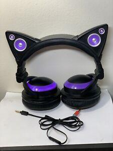 BROOKSTONE Axent Wear CAT EAR HEADPHONES - Purple- Tested 👍🏻