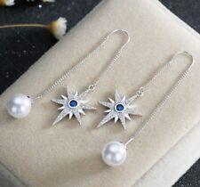 Women 925 silver Six-star white pearl sapphire long tassel Drop Dangle Earrings