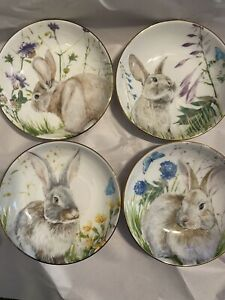 NEW! Williams-Sonoma 4 Pc SET: Floral Meadow Dip Bowls - Mixed Bunny Design