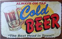 PLAQUE METAL PUBLICITAIRE vintage rétro BIERE COLD BEER - 42 X 26 CM