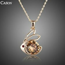 Women Lovely Rabbit Pendant Austrian Crystal 18k Gold Plated Necklace Jewelry
