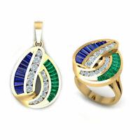 Women's Emerald & Sapphire Diamond Ring & Pendant Set 14k Yellow Gold Finish