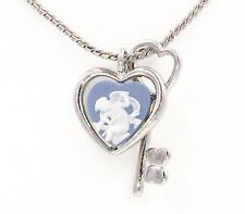 Authentic Wedgwood - Cupid in Heart Cameo w/Heart Key on Silver Plate Chain