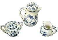 Vienna Woods Fine China Teapot Creamer & Lided Sugar Bowl Blue Onion Design