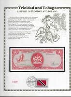 Trinidad & Tobago 1 Dollar 1977 P 30a UNC w/FDI UN FLAG STAMP Prefix CT