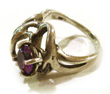 Ring w/Amethyst Stone Size 6 Taxco Mexico 925 Sterling Silver Unique