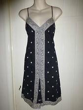 Gap size 8 dress black with white pattern shoe string straps